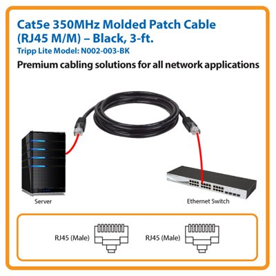 3-ft. Cat5e 350MHz Molded Patch Cable (Black)