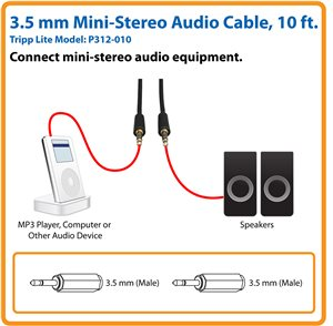 10 ft. Cable Connects Your Smartphone or MP3 Player to a Stereo System
