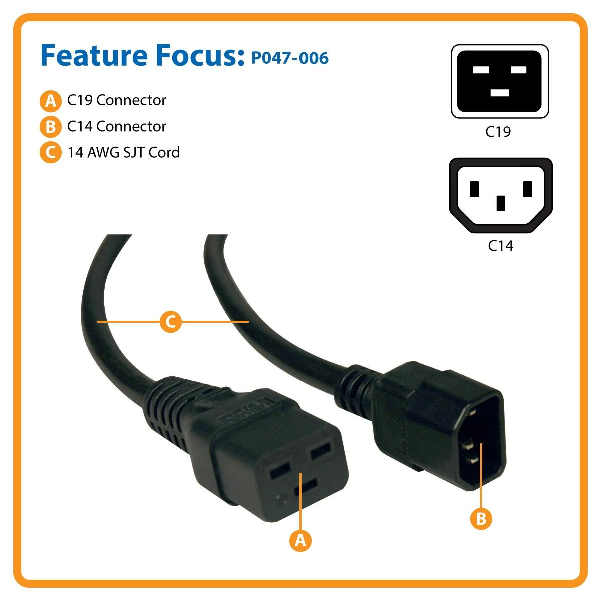 Tripp Lite Heavy Duty Power Extension Cord 14awg 15a C19 To C14 6 Virus 16 Awg Speaker For Network Hardware