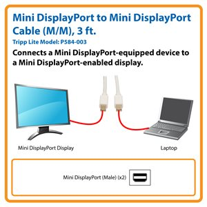 Connect a Mini DisplayPort (mDP) Computer to an mDP Monitor or TV