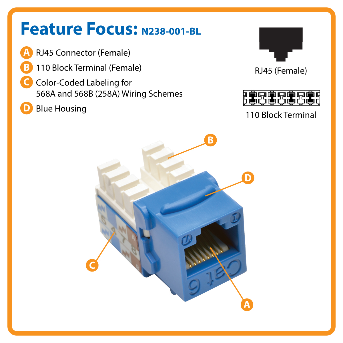 Cat6/Cat5e 110-Style Punch-Down Keystone Jack, Blue