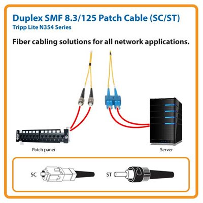 Duplex SMF 8.3/125 16 ft. Fiber Patch Cable with SC/ST Connectors