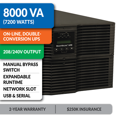 SU8000RT3U SmartOnline® Hot-Swappable Double-Conversion Rack/Tower Sine Wave UPS with 208/240V Output, Expandable Runtime, Bypass Switch, Network Slot and LCD/LED Control Panel