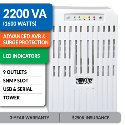 SMART2200VS SmartPro® 120V 2200VA 1.6kW Line-Interactive UPS, Tower, Network Card Options, USB, DB9 Serial