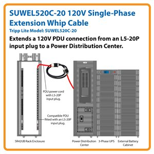 20 ft., 120V Single-Phase Extension Whip Cable for 3-Phase Power Distribution Cabinets (L5-20R to L5-20P)