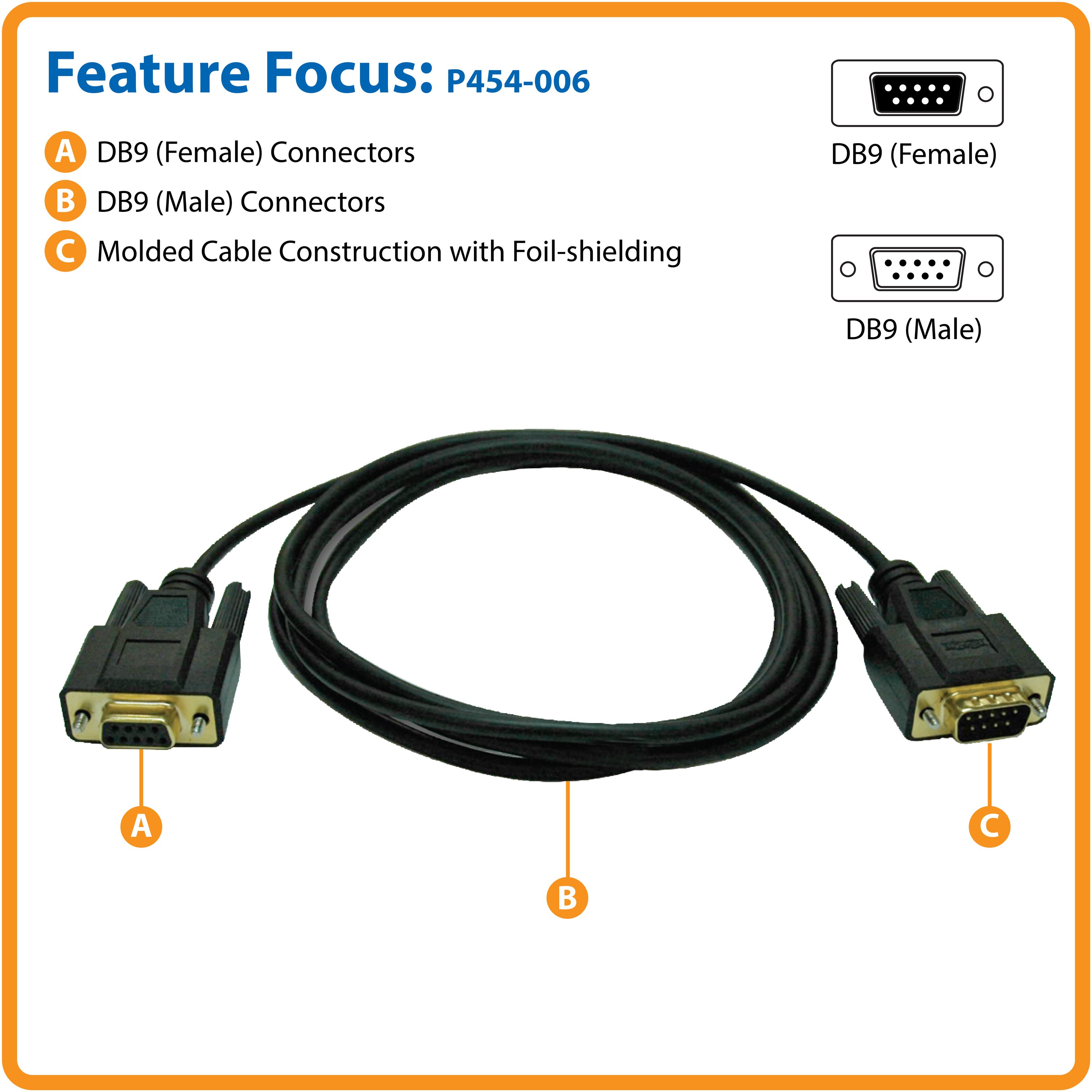 Tripp Lite 6 Null Modem Serial Db9 Rs232 Cable Adapter Gold M F 6ft The Figure Shows Connections For Db25 Connectors Use Table Connect 2 Devices Requiring A
