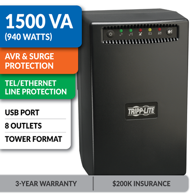 OMNIVS1500 Line-Interactive Tower UPS with 1500VA and USB Port