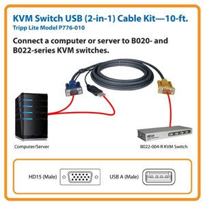 B020- & B022- KVM Switch 10 ft. Cable Kit