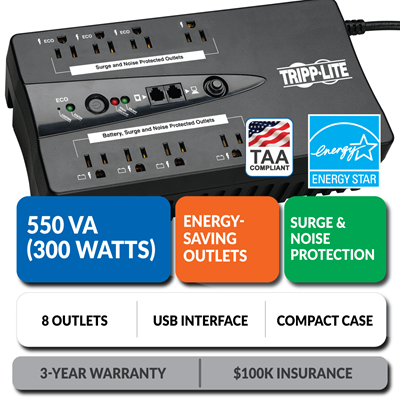 ECO550UPSTAA Ultra-Compact Eco-Friendly Standby UPS with Energy-Saving Outlets, TAA Compliant
