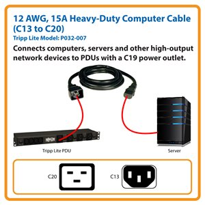 7 ft. Heavy-Duty Power Cord Connects Devices to PDUs with a C19 Power Outlet (C13 to C20)