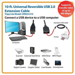 10 ft. Universal Reversible USB 2.0 Hi-Speed Extension Cable