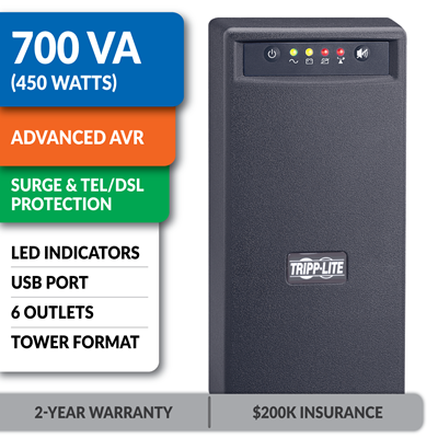 OMNISMART700 OmniSmart® 120V 700VA 450W Line-Interactive UPS, Tower, USB Port, DB9 Serial