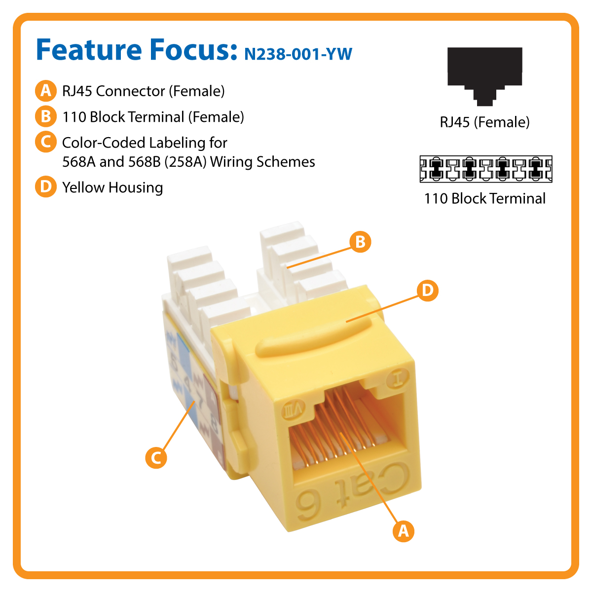 N238 001 Yw Cat6 110 Punch Down Keystone Jack By Office Depot Phone Wiring Block Cat5e Style Yellow