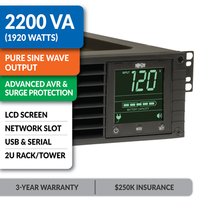 SMART2200RM2U SmartPro® Line-Interactive Rack/Tower Sine Wave UPS with Network Slot and LCD