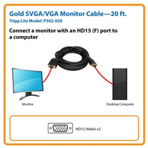 20-ft. Gold VGA Monitor Cable is the Smart Video Solution for Desktop Computer Setups