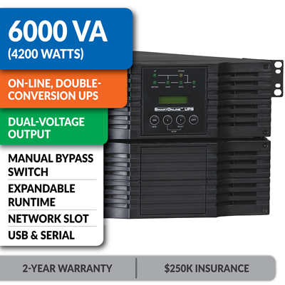 SU6000RT4U SmartOnline® Hot-Swappable Double-Conversion Rack/Tower Sine Wave UPS with Dual-Voltage Input/Output, Expandable Runtime, Bypass Switch, Network Slot and LCD/LED Control Panel