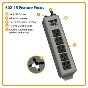 All Metal 5-Outlet Power Strip