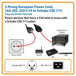 Tripp Lite 8ft 2-Prong Computer Power Cord European Cable C19 to SCHUKO CEE  7/7 Plug 16A 8' power cable - 2 4 m