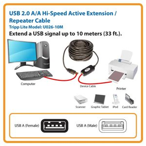 USB 2.0 A/A Repeater Cable with Booster Extends Signal Up to 10 Meters