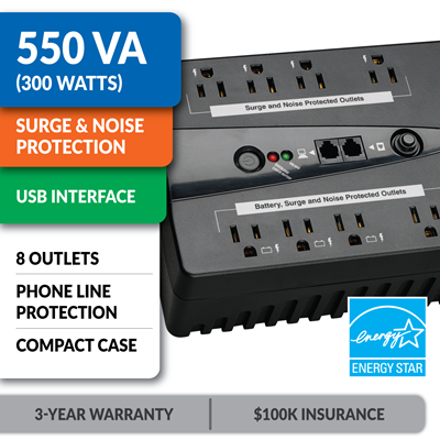 INTERNET550U Ultra-Compact Standby UPS with USB Interface
