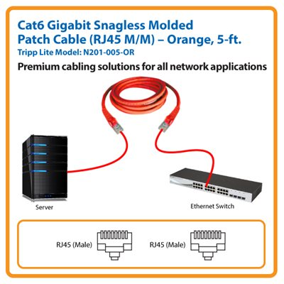 5-ft. Cat6 Gigabit Snagless Molded Patch Cable (Orange)