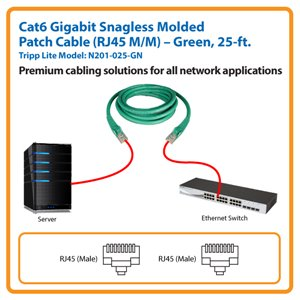 25-ft. Cat6 Gigabit Snagless Molded Patch Cable (Green)