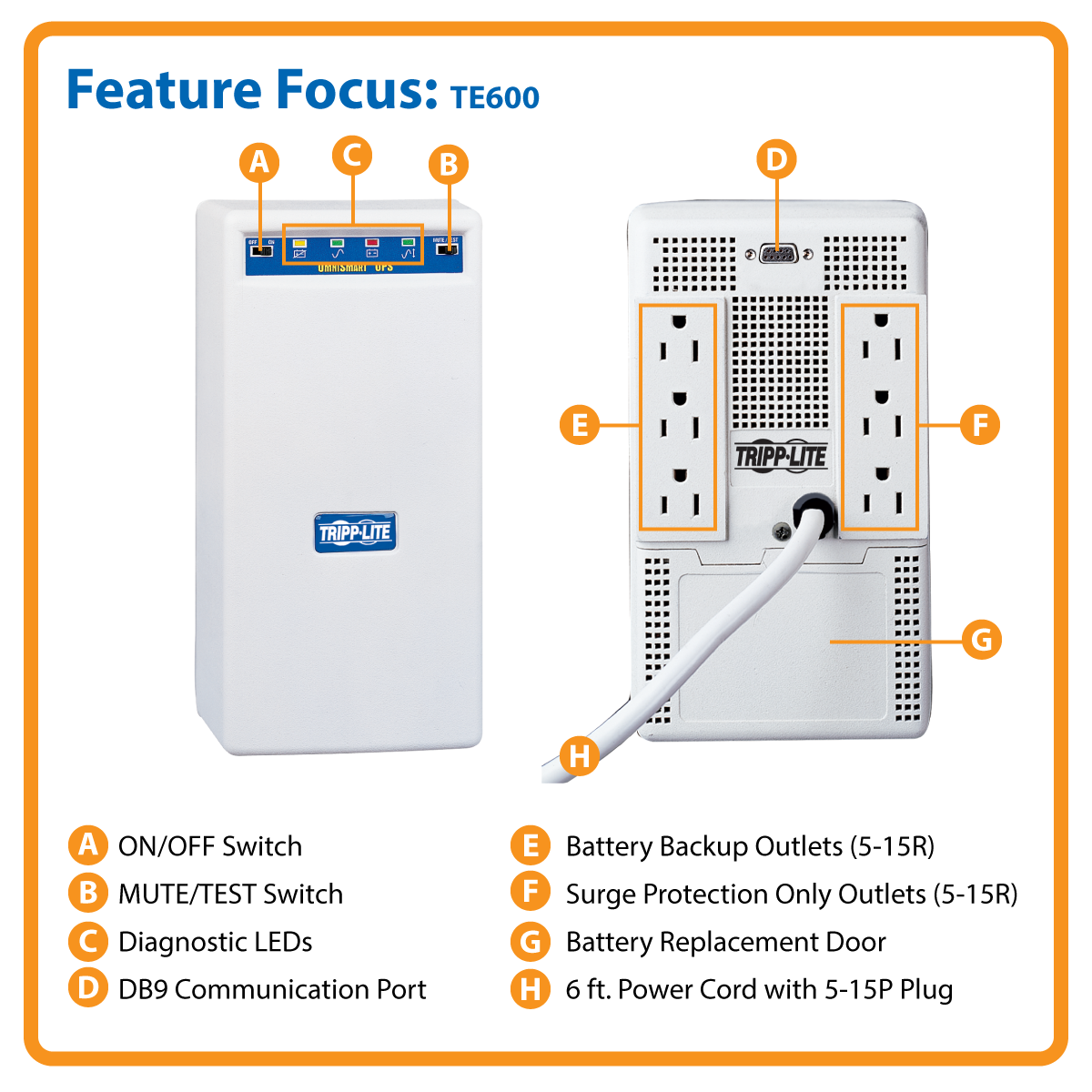 Tripp Lite 600va 425w Ups Tower Avr 120v Db9 5 15r 6 Outlet 15p Switch Wiring1 Diagram Diagosis Media