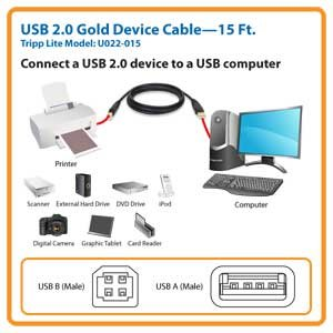 15 ft. USB 2.0 Gold Device Cable
