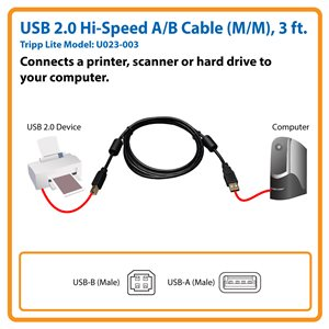 USB 2.0 Hi-Speed A/B Cable, Ferrite Chokes (M/M), 3 ft.