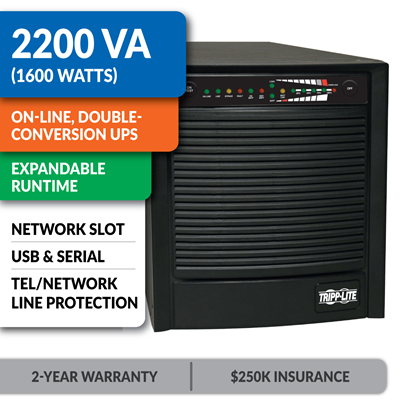 SU2200XLA SmartOnline® Double-Conversion Sine Wave Tower UPS with Expandable Runtime and Network Slot
