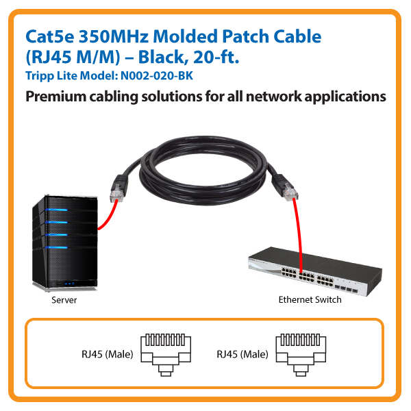 20-ft. Cat5e 350MHz Molded Patch Cable (Black)