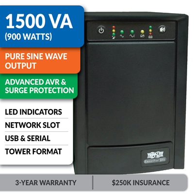 SMART1500SLT Smart Line-Interactive 1500VA Tower Sine Wave UPS with Network Slot