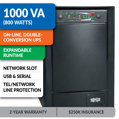 SU1000XLA SmartOnline® Double-Conversion Sine Wave Tower UPS with Expandable Runtime and Network Slot
