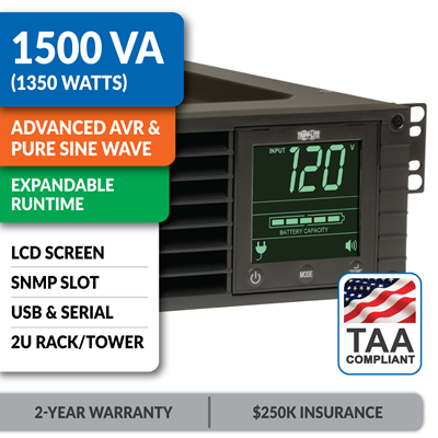 SM1500RMXL2UTAA SmartPro® 120V 1.5kVA 1.35kW Line-Interactive Sine Wave UPS, 2U, Extended Run, Network Card Options, LCD, USB, DB9, TAA-Compliant