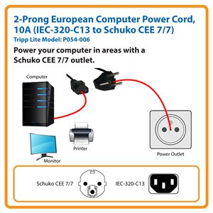 1.8 m (6 ft.) 2-Prong European Computer Power Cord, 10A (IEC-320-C13 to Schuko CEE 7/7)