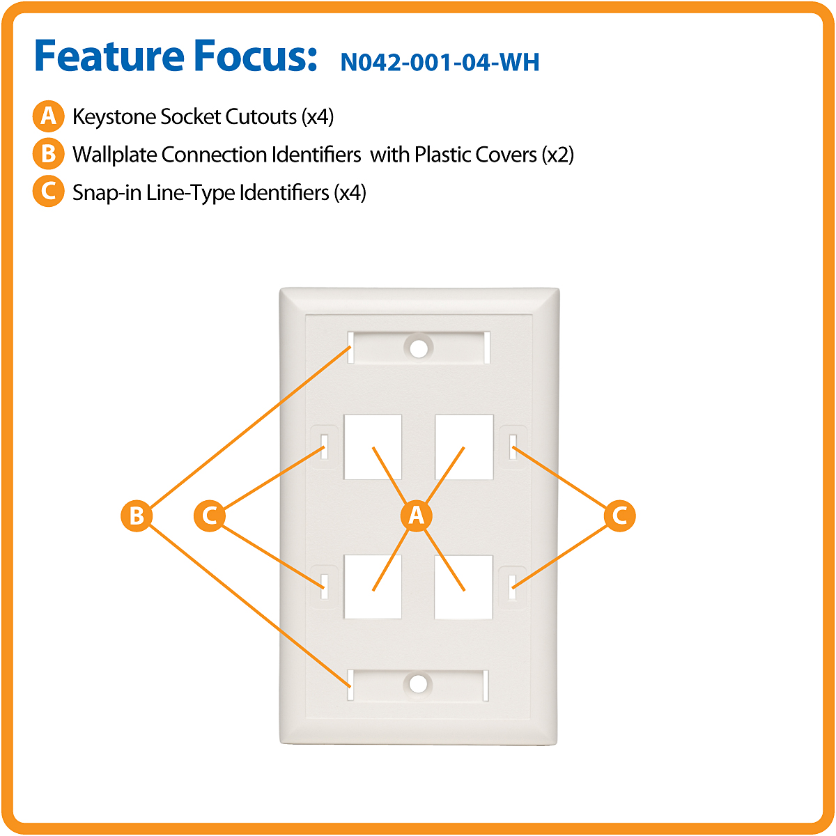 Tripp Lite 4 Port Quad Outlet Rj45 Universal Keystone Jack Face Wiring Socket A Or B Wallplate