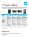 HP Financial Calculators Comparison Sheet