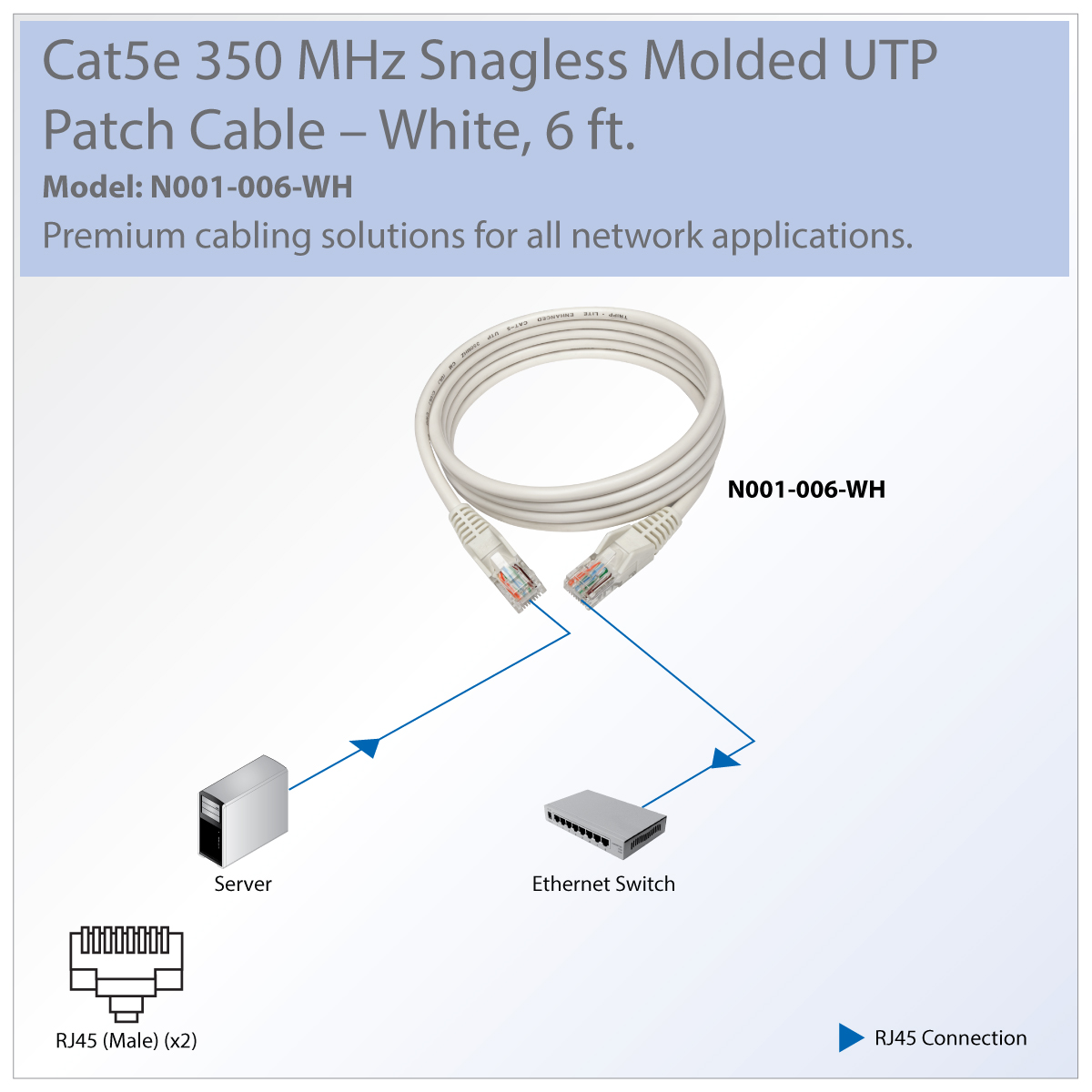 Tripp Lite Cat5e Blue Ethernet Patch Cable Snagless Molded Boot 15 Foot Part 350 Mhz Utp Rj45 M White 6 Ft Category 5e For Computer Server Printer Photocopier Router Blu Ray