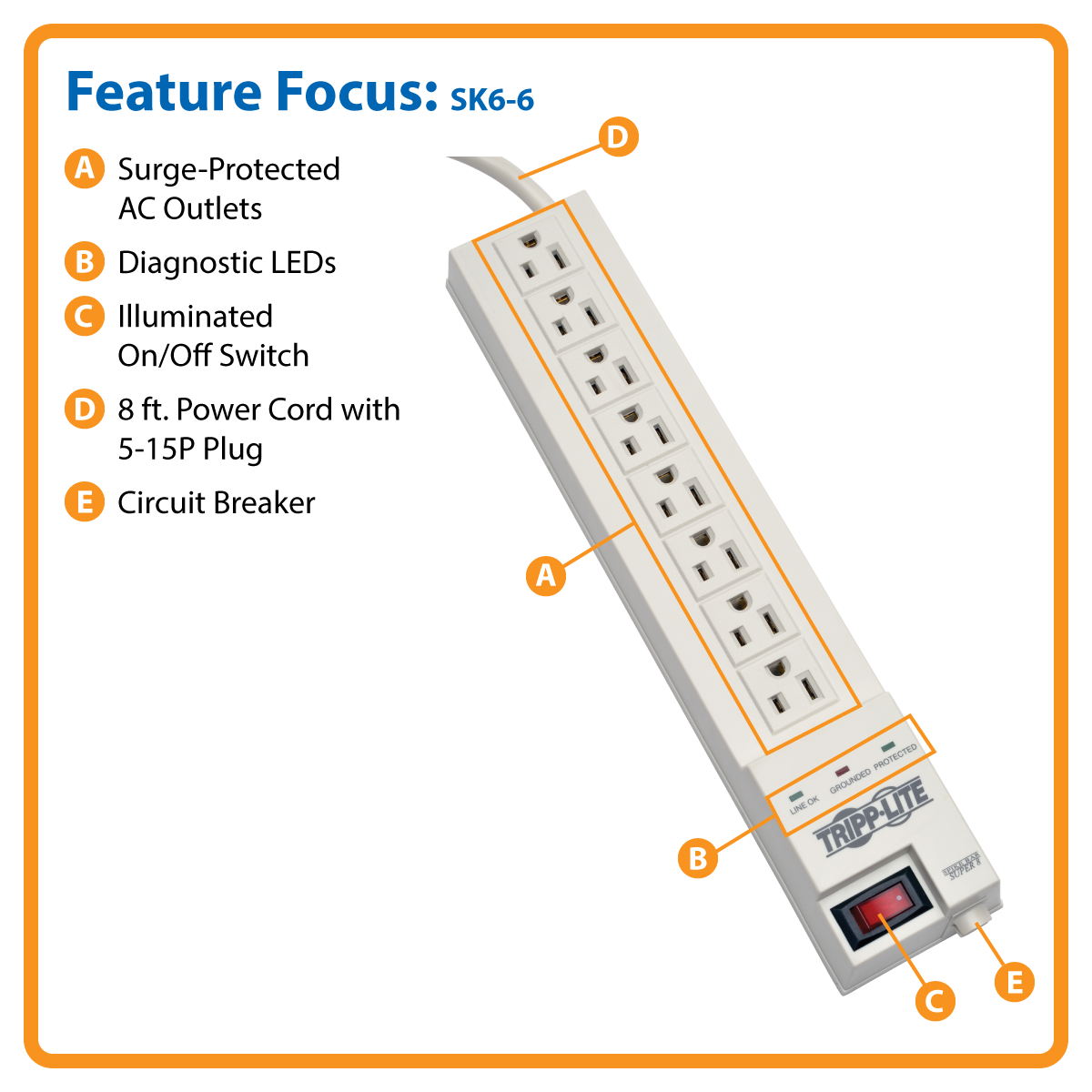 Brilliant Provantage Tripp Lite Sk6 6 Tripp Lite Surge Protector Strip 120V 8 Wiring Cloud Oideiuggs Outletorg