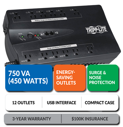 ECO750UPS Ultra-Compact Eco-Friendly Standby UPS with Energy-Saving Outlets