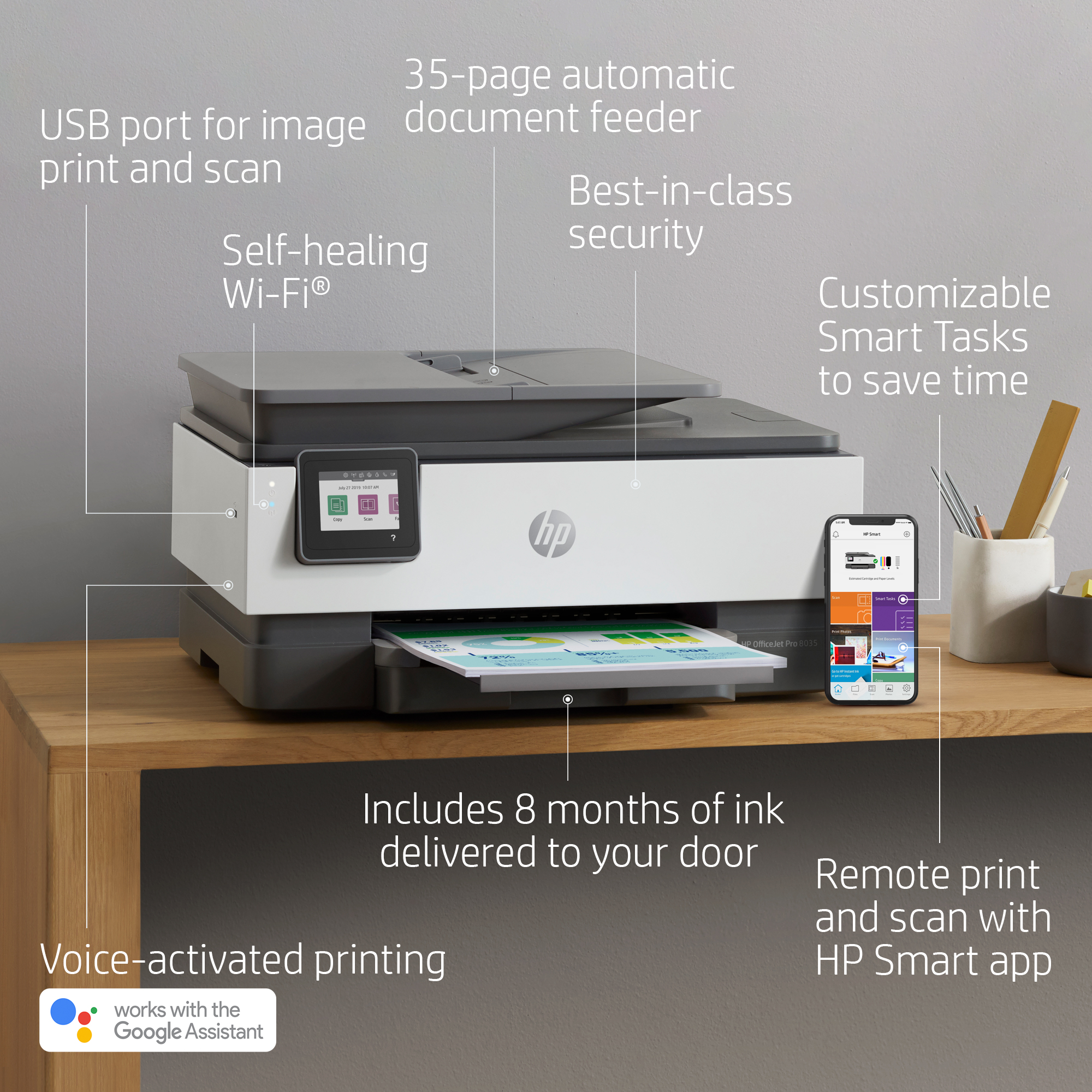 HP OfficeJet Pro 8035 All-in-One Wireless Printer, Includes 8 Months of Ink  Delivered to Your Door, Basalt (5LJ23A)