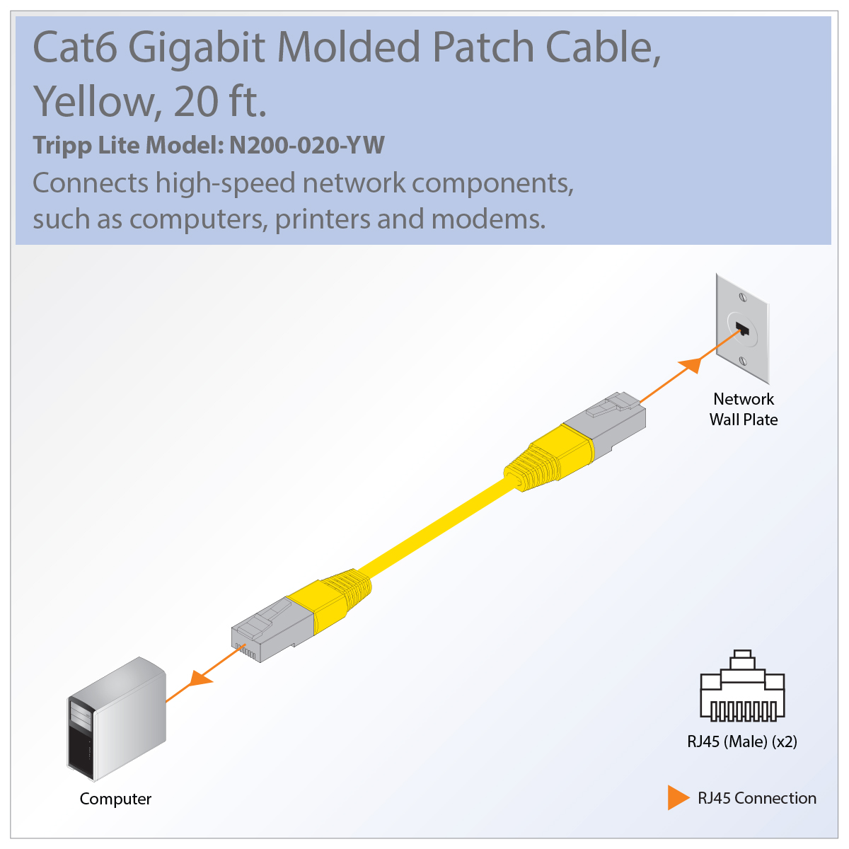 Tripp Lite Premium N200 020 Yw Rj 45 Patch Network Cable Usb Printer Wiring Diagram Great For Connecting Components In Bandwidth Heavy Home Office Networks