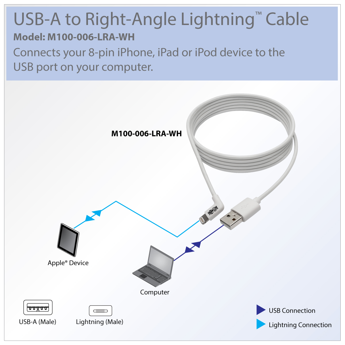 Tripp Lite Lightning To Usb Sync Charge Right Angle Iphone Ipad Ethernet Cable Wiring Diagram For Ipod Syncs And Charges Your Or