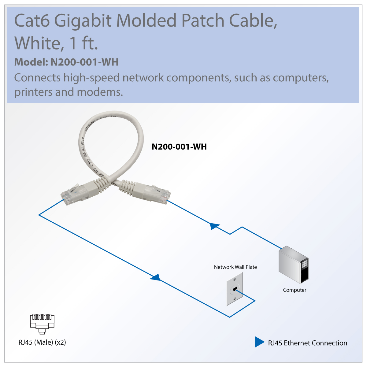 Tripp Lite Premium N200 001 Wh Rj 45 Patch Network Cable Wiring Diagram Great For Connecting Components In Bandwidth Heavy Home Office Networks