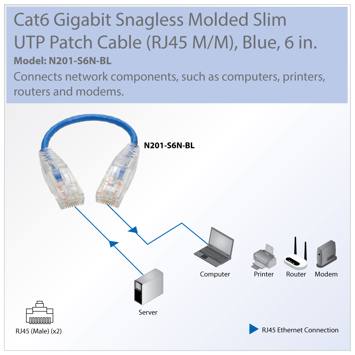 Tripp Lite Cat6 Gigabit Snagless Molded Slim Patch Cable Rj45 M Catalog Product Computer Cables Utp Installs Easily Even In Tight Spaces