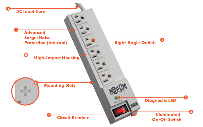 Phenomenal Tripp Lite Surge Protector Power Strip 6 Right Angle Outlets 6 Wiring Cloud Oideiuggs Outletorg