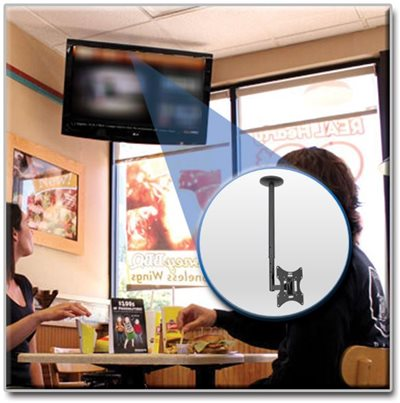 Optimized Viewing with Full-Motion Ceiling Mount