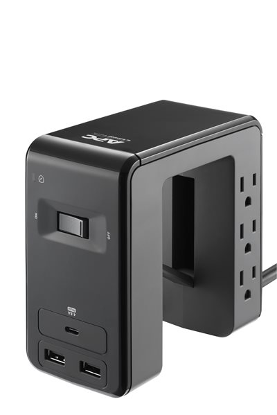 APC SurgeArrest Essential Multi-Use 6 Outlet with 2 Type-A 1 Type-C Port 4.8A USB Charger 120V