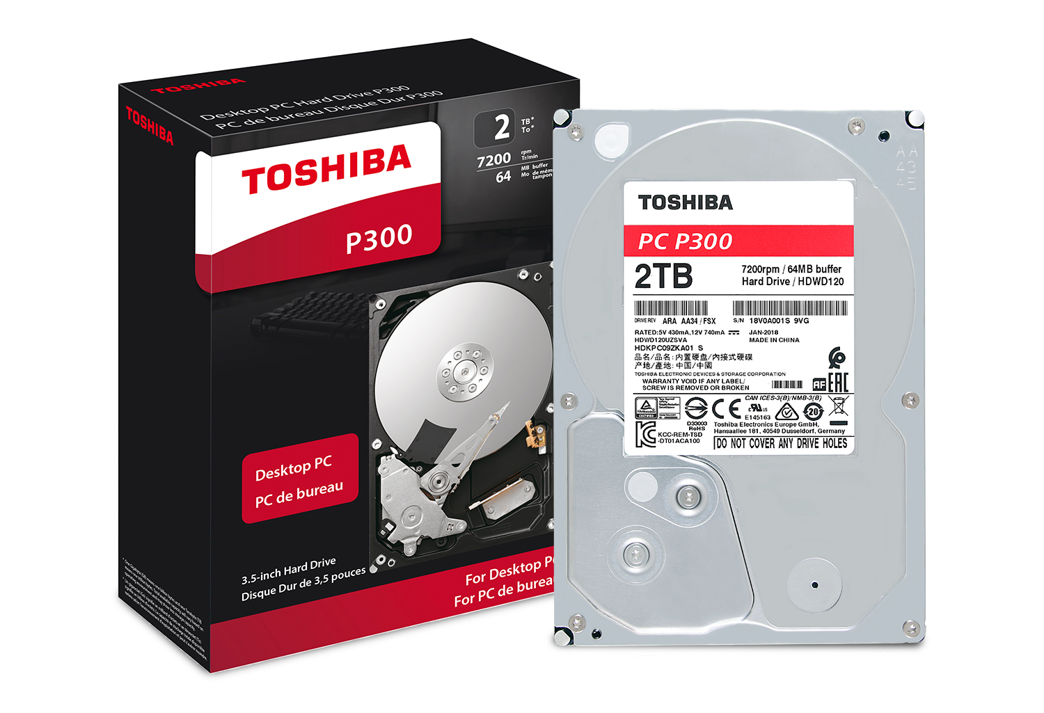 Toshiba P300 2TB Desktop PC Internal Hard Drive 7200 RPM SATA