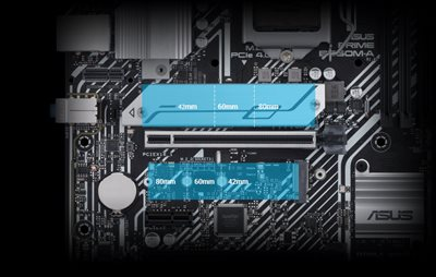 Two M.2 slots (up to 64 Gbps)